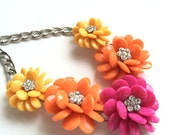 Flower Necklace, Bright Color Necklace, Bold, Yellow, Orange, Hot Pink, Bib, Statement