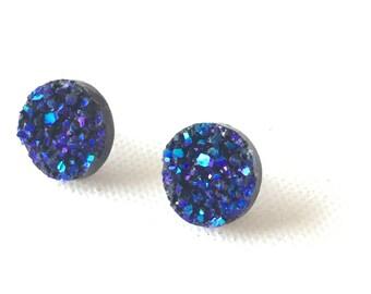 Blue Druzy Earrings, 12 mm, Round Blue Stud Earrings, Faux Druzy, Peacock Blue