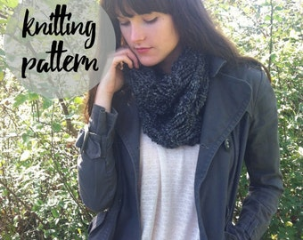 Knitting Pattern for Drop-Stitch Infinity Scarf / Easy Beginner Knitting Scarf Pattern / Instant PDF Digital Download