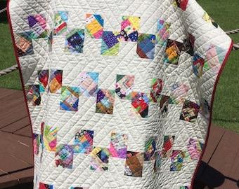 "A Scrap Happy 49.75"" X 64.5"" Bricks Pattern Quilt"