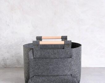 Storage Basket - Gray storage bin - storage box - toy storage - felt bin  , SB-02
