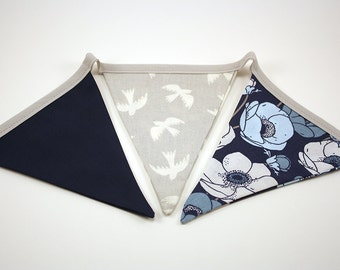 Flowers & Sparrows Reversible Fabric Pennant Banner, Modern Home Decor, Birds, Gray, Navy and Aqua Flowers