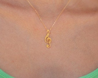 Treble Clef Golden Necklace , Gold filled Necklace , a gift for Music Lovers , Music Jewelry , Treble Clef Jewelry , Treble Clef Charm