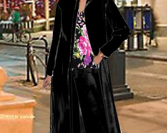 Maxi Cardigan Duster Black With 2 Piece Pant Set Floral T Top Made To Measurement