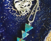 "Tripple Triangle ""Arrow"" Blue Calsilica & Sterling Silver Simple Pendant Necklace - Layering Necklace - Triangle Necklace by Adrienne Adelle"
