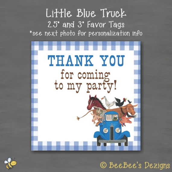 instant download little blue truck birthday party square favor