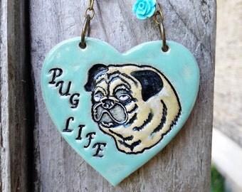 Pug Life - Turquoise Ceramic Ornament
