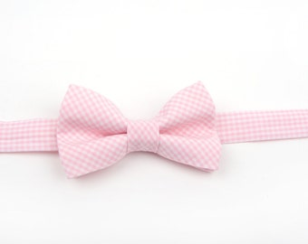 Pink gingham bow tie, pink check bow tie, boy's bow tie, men's bow tie, adult bow tie, toddler bow tie, pink bow tie boys pink bow tie, pink