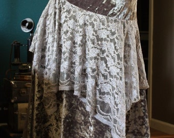 Size L Grey Velvet and Lace Ready to Ship Lily Skirt for Bellydance or Tribal Fusion