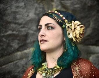 SOLD---READ DESCRIPTION ---------Tribal Fusion Headdress- Cream, Mauve, And Copper Floral, Quartz and Conus Shell Headpiece