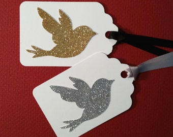 Gift Tags, XLarge ~ 5 Xtra-Large Gift Tags with Hand-Glittered Bird, Dove, Satin Ribbon, Wedding Decor, Anniversary Party, Goody Bag Tags