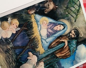 SALE! Glittered Christmas Card ~ Hand-Glittered Nativity Scene, Old-Fashioned Card with Envelope, Nostalgic Christmas, Religious Card