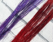 Red / Purple Hair Tinsel 18/19 inches Long 10g Pack 120+ Strands