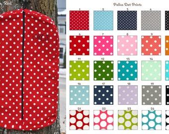 MADE TO ORDER Polka Dot Hanging Garment Bag Many Colors