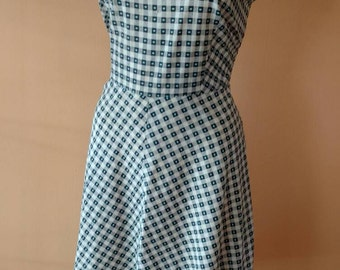 1950s Check Mate! Blue and White Cotton Swing Dress