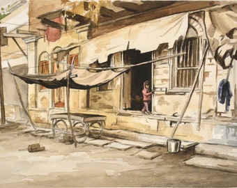 Varanasi Girl, India Art Original Watercolor Painting by Casey Perez, Artwork Matted and Framed