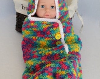 Baby Crochet Cocoon - Baby Swaddle Sack - Cocoon - Bright Colors