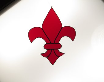 Stained Glass Fleur de Lis Suncatcher - Price Includes Shipping