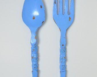 Vintage Giant Spoon & Fork Wall Hangings in Ocean Blue / Retro Kitchen Decor