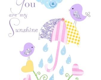 Nursery art print, baby girl art, You Are My Sunshine, personalized 8x10 nursery print, birds, umbrella