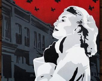 Blackbirds - Original Stencil Art Painting on 16x20 Inch Stretched Canvas