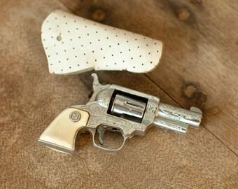 NICHOLS Vintage Toy Cap Gun with sheath - PAINT