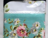 Vintage 1970s Style House Pink Teal Floral No Iron Standard Pillowcases New Old Stock