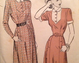 "Vintage 1940s Advance Misses' Dress Pattern 4707 Size 18 (36"" Bust)"