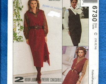 McCalls 6730 Slim V Neck Jumper with Side Button Details Size 10 12 14 UNCUT