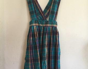Vintage 1980s Cotton Plaid Suspender Jumper Skirt