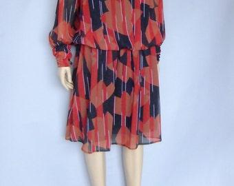 Designer Maria Kroll, 80s dress, 80s clothing, chiffon dress, sheer dress, oversized, drop waist dress
