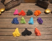Hand Dyed  Cotton Tassels 25 Pieces Assorted Colors