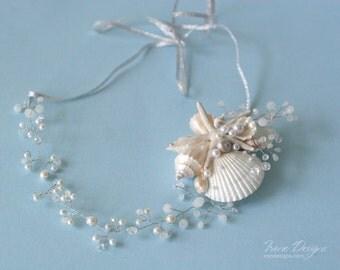 White pearl and crystals beach wedding head wreath. Bridal seashell wreath. Mermaid Head Wreath .Beach Wedding Head Circlet