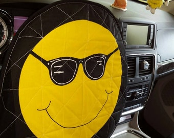 Smiley Face with Sunglasses  A reversible Quilted Steering Wheel cover