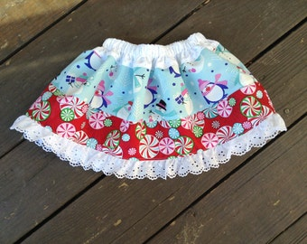 SALE: Christmas Holiday Twirl Skirt, Size 18-24 months, Penguin Skirt, Snowman Skirt, Ready to Ship, One-of-a-kind