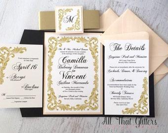 wedding invitation pocketfold | blush and gold wedding invitations | rose gold wedding invitations | wedding invitations with RSVP -Camilla-