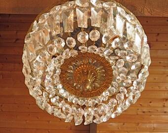 """Vintage Chandelier Antique Flush Mount Chandelier BIG 12"""" Wide w/3 Lights and 30 Crystal Prism Strands Ready to Shine!"""