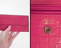 Red Leather Wallet 1970s AMITY Lambskin Money Keeper