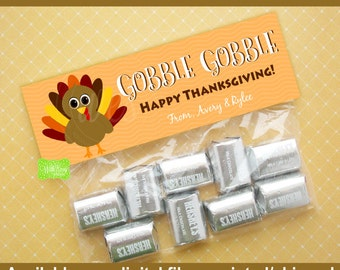 Personalized Turkey Treat Bag Toppers - Thanksgiving Bag Topper - Gobble Gobble Treat Bag Topper - Digtal & Printed Available