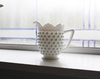Milk Glass Hobnail Creamer Vintage 1960s