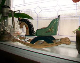 Vintage Toy Rocking Horse Doll Size Handmade
