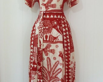 70's Amazing Batik Maxi Dress Animal Novelty Print Van Raalte Loungewear Hostess Gown XXS XS