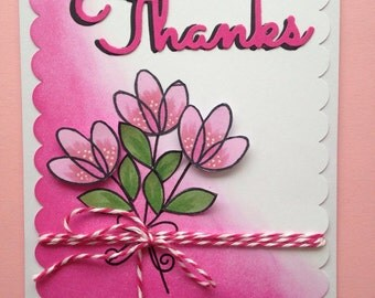 Thank you floral card spring flowers pink thanks