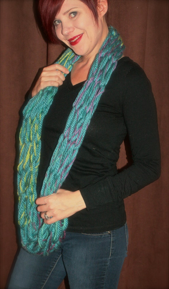 Chunky Teal w/lavender and green Arm Knit Infinity Loop Scarf