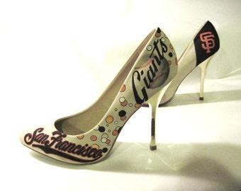 Hand Painted SF Giants Pumps, womens size 8 1/2, Shoe Republic LA, san francisco giants shoes