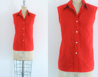 Vintage 1960s Red Button Up Tank Top 60s Blouse 60s Tank 1960s Shirt 60s Top Red Vintage Shirt Red Vintage Top Red Tank Large