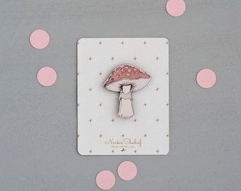 Mushroom Brooch Pin, mushroom illustration, laser cut jewellery, wooden brooch, mushroom jewelry, enamel pin, mushroom pin,botanical jewelry