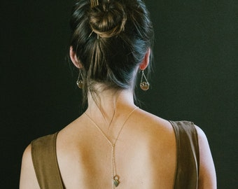 Double Drop Lariat Necklace   Shield Lariat