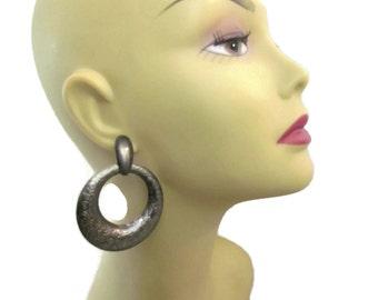 Large Hoop Earrings For Pierced Ears 1980s Earrings Big Bold Chunky Earrings Dangle Drop Earrings Chunky Jewelry Silver Earrings