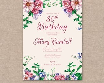 Birthday Invitation 40th, 50th, 60th, 70th, 80th, 90th, 100th, Party, Watercolour Flowers Floral Vintage - Digital file
